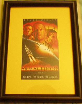 Ben Affleck Liv Tyler Bruce Willis autographed Armageddon video cover framed