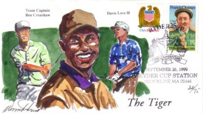1999 Ryder Cup hand painted cachet envelope #30/75 (Tiger Woods)