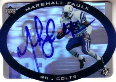 Marshall Faulk autographed Indianapolis Colts 1996 SPx hologram card