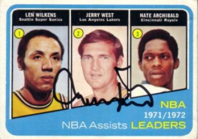 Jerry West autographed Los Angeles Lakers Topps Assists Leaders card