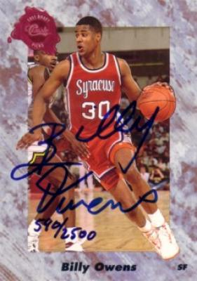 Billy Owens certified autograph Syracuse 1991 Classic card