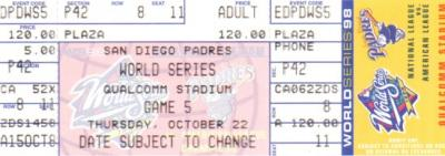 1998 World Series Game 5 phantom ticket (New York Yankees at San Diego Padres)