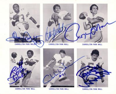 1982 Dallas Cowboys autographed card sheet (Tony Dorsett Roger Staubach Randy White)
