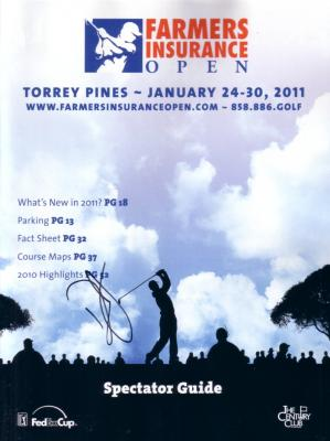 Dustin Johnson autographed 2011 Farmers Insurance Open program