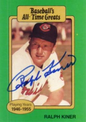 Ralph Kiner autographed Cleveland Indians Baseball&#039;s All-Time Greats card