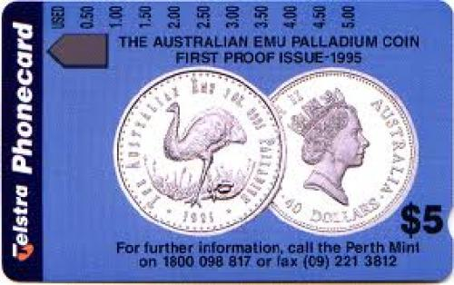 Phone card; commemorating the introduction of Australia&#039;s first palladium
