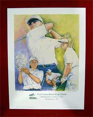 Annika Sorenstam &amp; Betsy King autographed LPGA 18x24 lithograph ltd edit 200