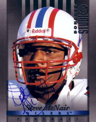 Steve McNair autographed Tennessee Oilers 1997 Donruss Studio 8x10 photo card
