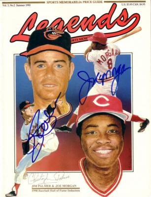 Joe Morgan & Jim Palmer autographed 1990 Legends Baseball Hall of Fame magazine cover
