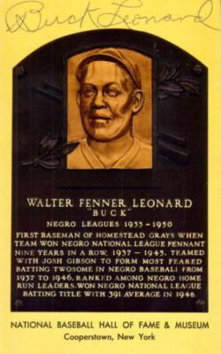 Buck Leonard autographed Baseball Hall of Fame plaque postcard