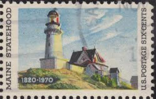 Stamps; &quot;Lighthouse at Two Lights&quot; (1929) In the stamp from 1970; 6 cents