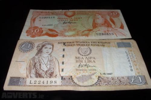 Cyprus -50 cent and 1 Pound-1989/97-2 pcs