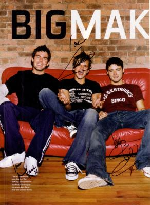 BBMAK magazine photo autographed by Christian Burns Mark Barry & Ste McNally