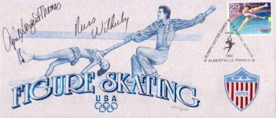 April Sargent-Thomas &amp; Russ Witherby autographed 1992 Olympic Figure Skating cachet