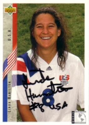 Linda Hamilton autographed US Soccer 1994 Upper Deck Rookie Card