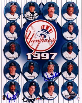 Derek Jeter Paul O'Neill Tim Raines David Wells autographed 1997 New York Yankees 8x10 photo