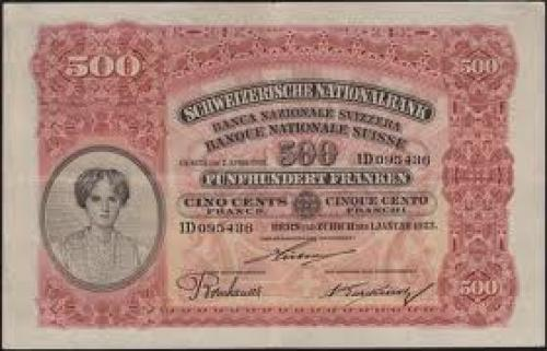 Switzerland 500 Swiss Francs banknote of 1923