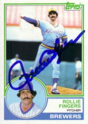 Rollie Fingers autographed Milwaukee Brewers 1983 Topps card