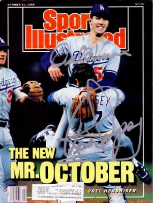 Orel Hershiser &amp; Rick Dempsey autographed Dodgers 1988 World Series Sports Illustrated