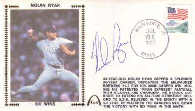 Nolan Ryan autographed Texas Rangers 300 Wins cachet envelope
