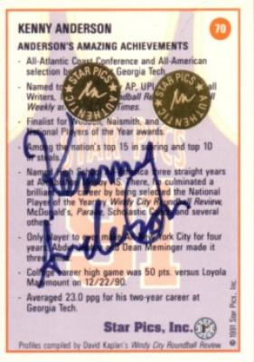 Kenny Anderson certified autograph 1991 Georgia Tech Star Pics card
