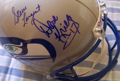 Dave Krieg &amp; Steve Largent autographed Seattle Seahawks full size throwback helmet