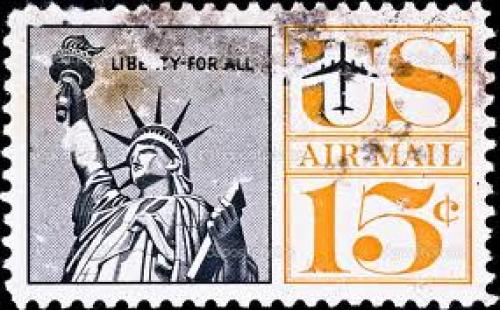 Stamps;  postage stamp shows US Statue of Liberty, circa 1970&#039;s
