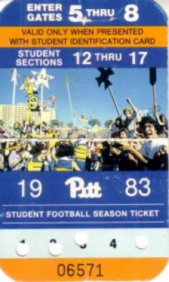 1983 Pittsburgh Panthers student football season ticket