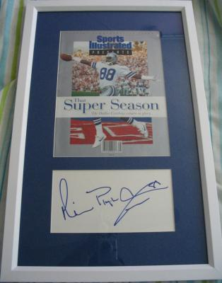 Michael Irvin autograph framed with Cowboys Super Bowl 27 Sports Illustrated special issue cover