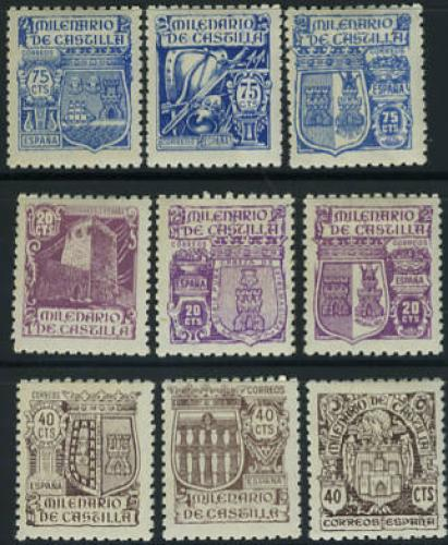 Castilia millenium 9v;Year Issue: 1944; Spain Stamps