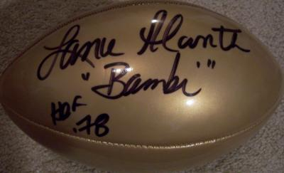 Lance Alworth autographed gold NFL replica football inscribed Bambi