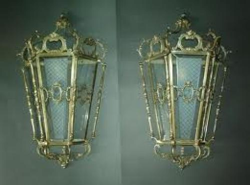 Antique French brass lantern