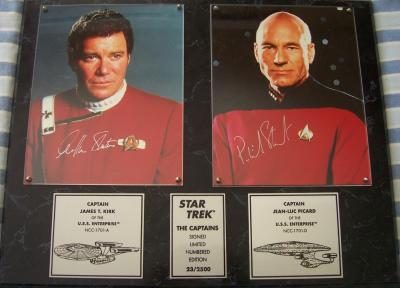 William Shatner & Patrick Stewart autographed Star Trek 8x10 photos in plaque