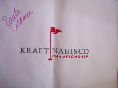Paula Creamer autographed LPGA Kraft Nabisco canvas embroidered flag