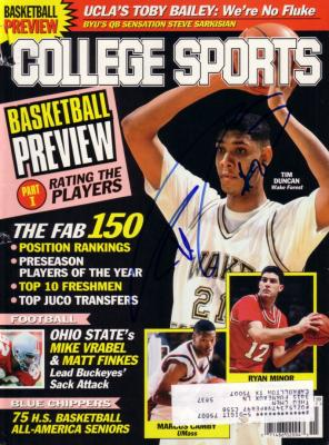 Tim Duncan autographed Wake Forest College Sports magazine