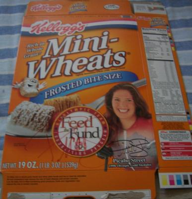Picabo Street autographed cereal box (signed on both sides)