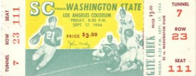 1954 USC vs Washington State full unused ticket