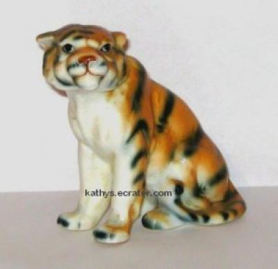Bone China Taiwan Sitting Tiger Animal Figurine