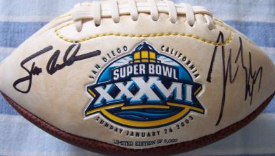 Jon Gruden & John Lynch autographed Super Bowl 37 mini football