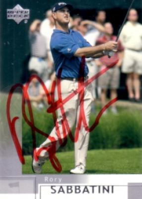 Rory Sabbatini autographed 2002 Upper Deck golf card