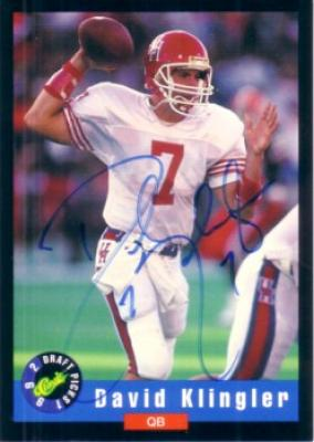 David Klingler certified autograph Houston 1992 Classic card