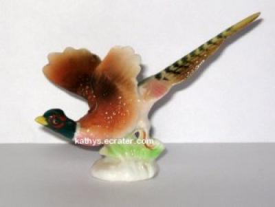 Miniature Bone China Male Pheasant Bird Figurine