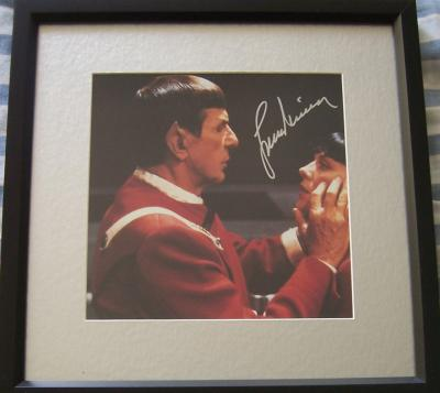 Leonard Nimoy autographed Star Trek VI photo matted & framed