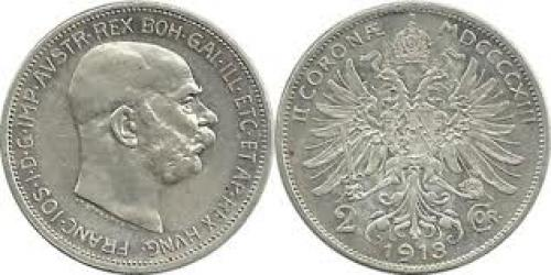 Coins; Austro Hungary 2Corona 1913