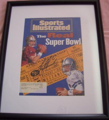Troy Aikman &amp; Steve Young autographed 1995 Sports Illustrated cover matted &amp; framed