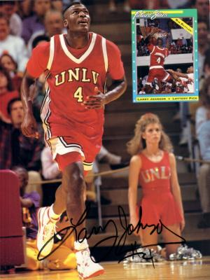 Larry Johnson autographed UNLV Beckett back cover photo