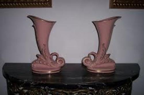 Antiques; Pair Vintage American St. Regis Porcelain Vases 1950′s Original