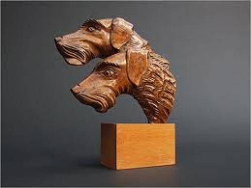 Chien Sculpture: 1940s Hand carved Oak Dog sculpture