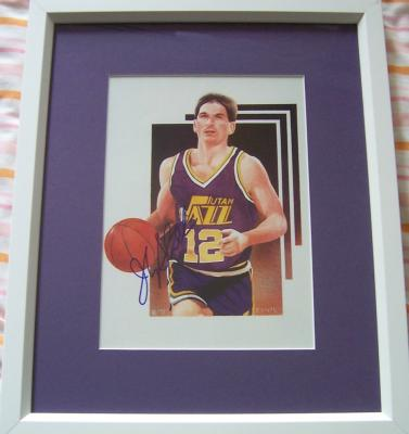 John Stockton autographed Utah Jazz art print matted &amp; framed