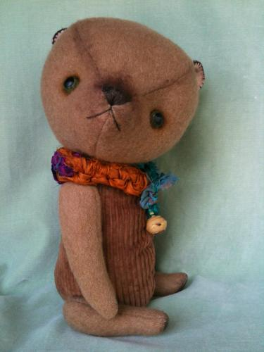 Artist teddy bear upcycled vintage camel hair coat